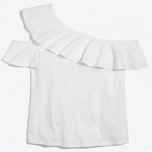 One sleeve off the shoulder top - white